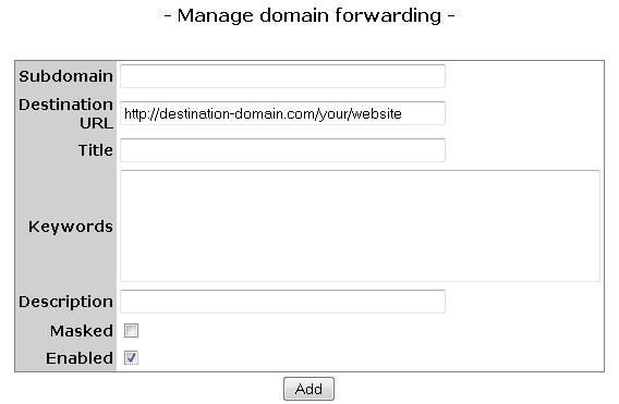 To set up forwarding for the bare domain (with no www. or other subdomains) leave the \'Subdomain\' field empty.